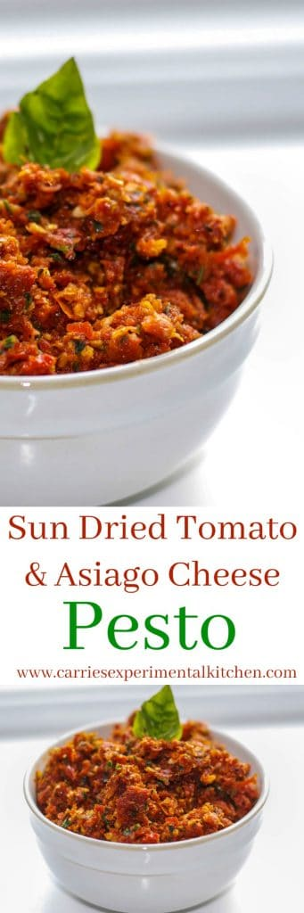 Sun Dried Tomato & Asiago Cheese Pesto is deliciously flavorful and so easy to make. Add it to your favorite sandwich or mix it in with pasta for a quick weeknight meal.