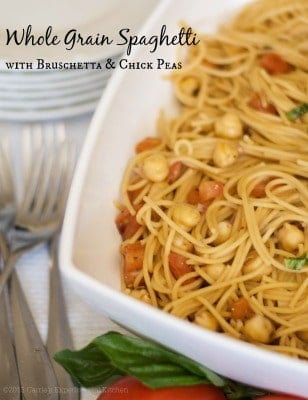 Whole Grain Spaghetti with Bruschetta & Chick Peas | Carrie's Experimental Kitchen