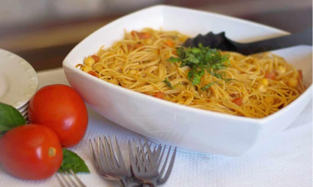 Whole Grain Spaghetti with Bruschetta and Chick Peas