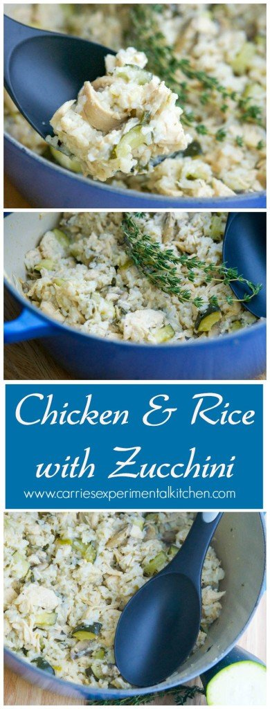 Chicken & Rice with Zucchini | CarriesExperimentalKitchen.com Chicken with fresh garden zucchini, mushrooms and garlic combined with rice makes this a tasty one pot meal.