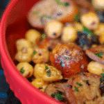 Greek Style Sausage and Chick Peas made with Italian sausage, chickpeas, Kalamata olives, garlic, and lemon.