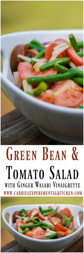 This Green Bean & Tomato Salad made with garden fresh green beans and Heirloom tomatoes tossed with shallots in a Ginger Wasabi Vinaigrette dressing is deliciously light and complements many recipes with Asian flavors.