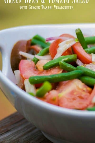Garden fresh green beans and Heirloom tomatoes tossed with shallots in a Ginger Wasabi Vinaigrette dressing complements many recipes with Asian flavors.