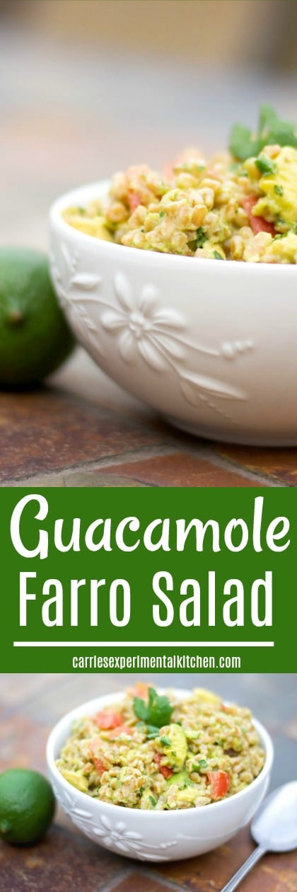 Guacamole Farro Salad made with ripe avocados, tomatoes, onion, cilantro and lime juice is a tasty side dish you'll want to serve over and over again.#salad #guacamole #avocado #cincodemayo