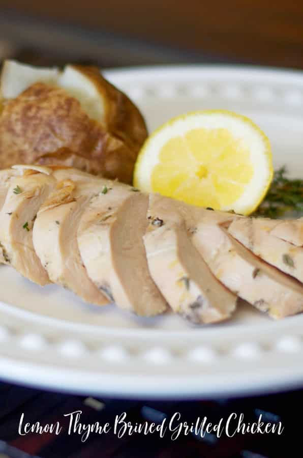Boneless chicken breasts marinated in a brine made with sea salt, sugar, fresh thyme, lemon juice and zest; then grilled is super juicy.