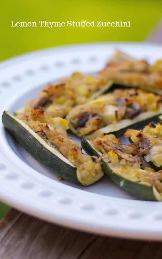 Fresh zucchini stuffed with lemon, fresh thyme, white wine, grated cheese and Panko breadcrumbs are deliciously light and flavorful.