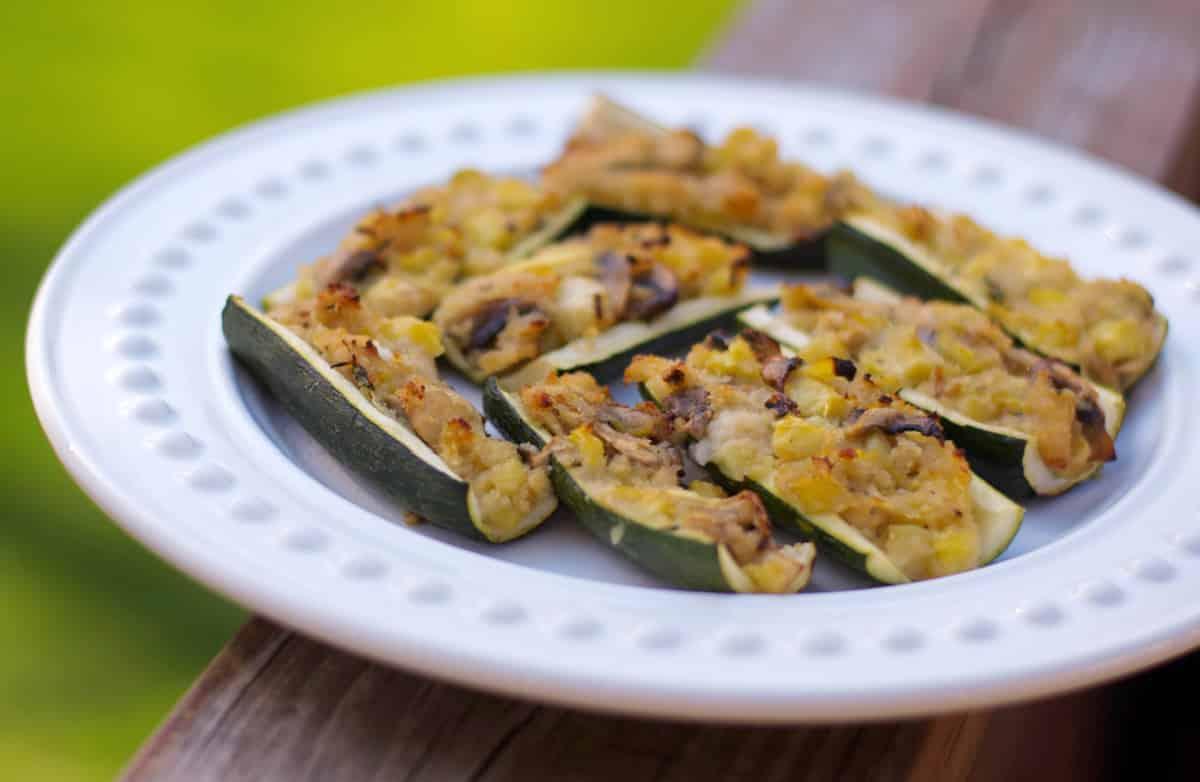 Lemon Thyme Stuffed Zucchini