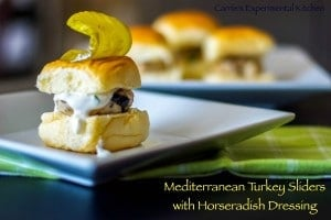 Mediterranean Turkey Burger Sliders with Horseradish Dressing