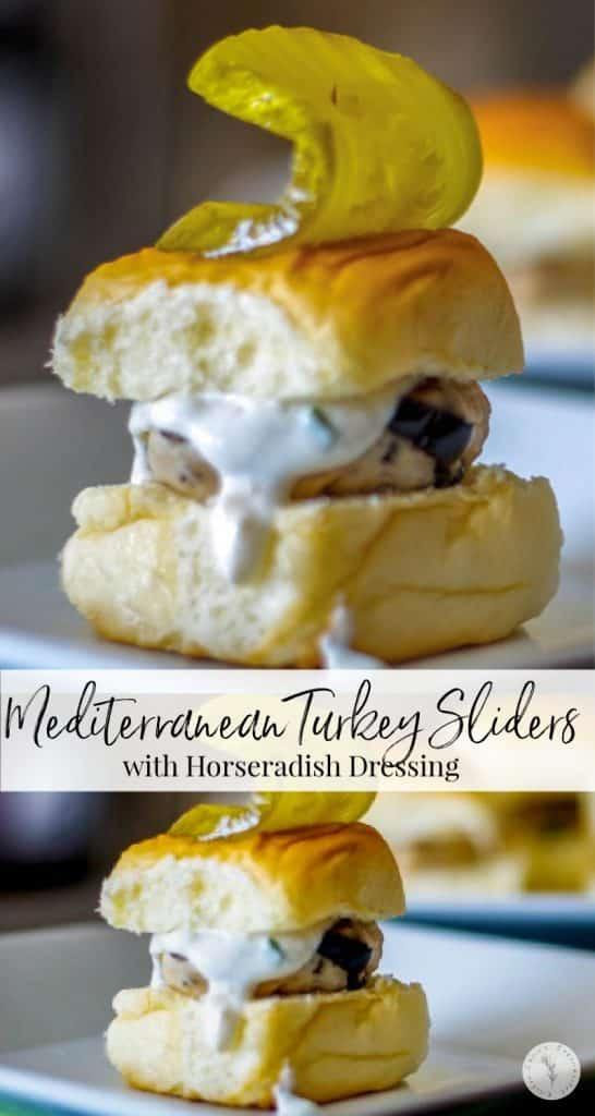 Mediterranean Turkey Sliders made with lean ground turkey, Kalamata olives, Feta cheese, and oregano on top of a sweet slider bun.