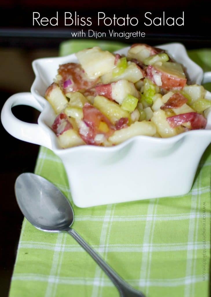 This Red Bliss Potato Salad with Dijon Vinaigrette is delicious. With it's 'no mayo' dressing, it's bound to be everyone's favorite picnic salad.