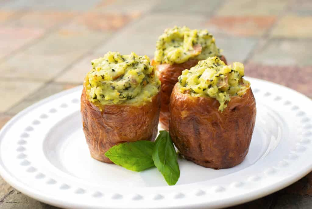 Stuffed Pesto Baked Potatoes