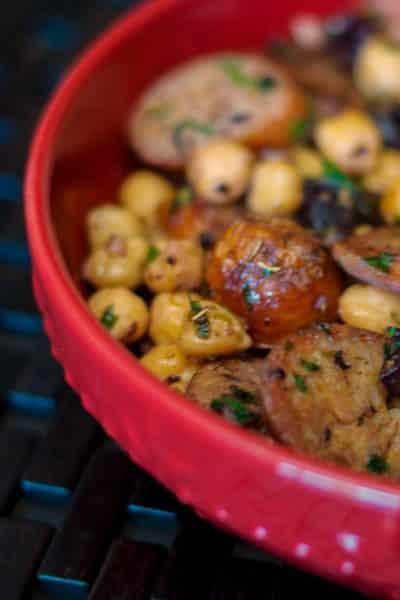 Greek Style Sausage & Chick Peas