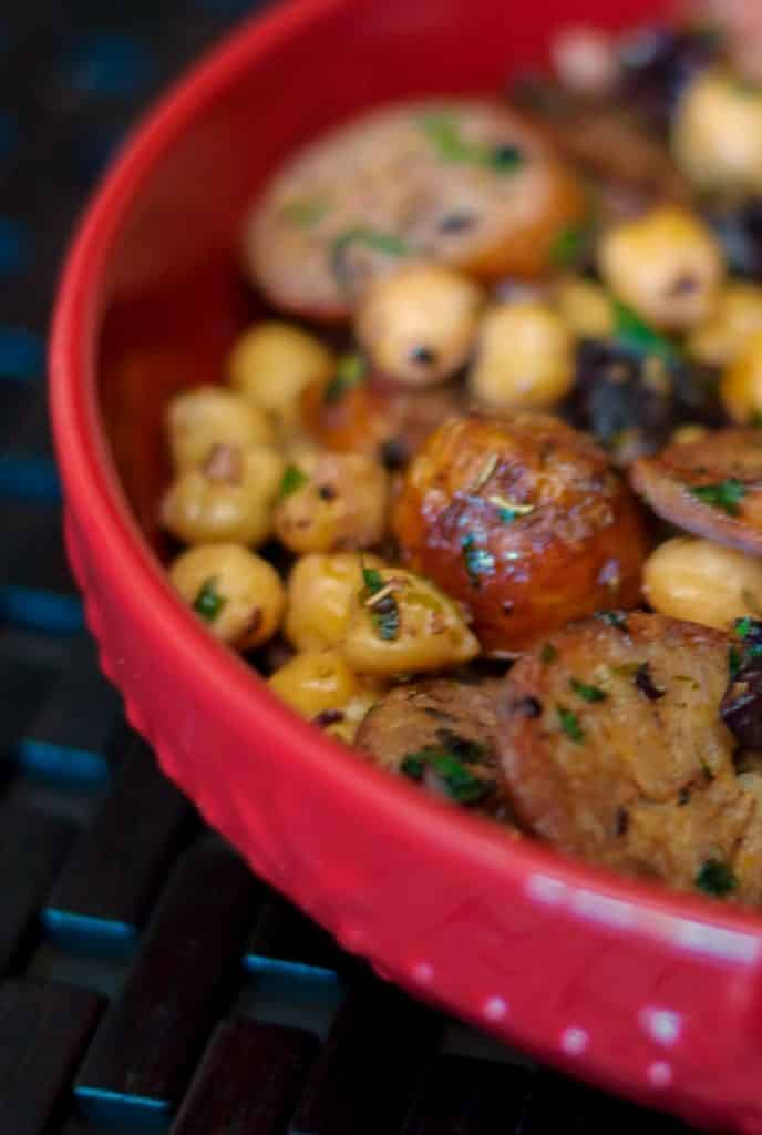 Greek Style Sausage & Chick Peas made with Italian sausage,  chickpeas, Kalamata olives, garlic, and lemon.