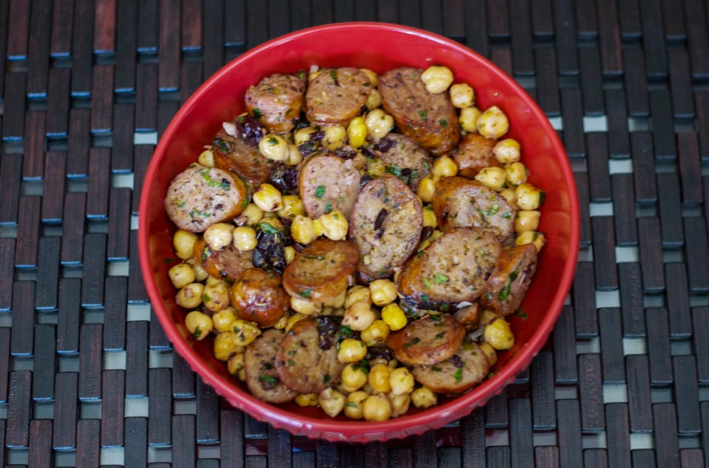 greek style sausage and chick peas-carrie's experimental kitchen