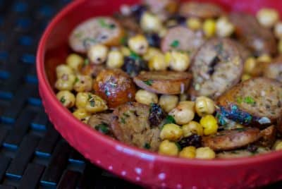 greek style sausage and chick peas closeup-carrie's experimental kitchen