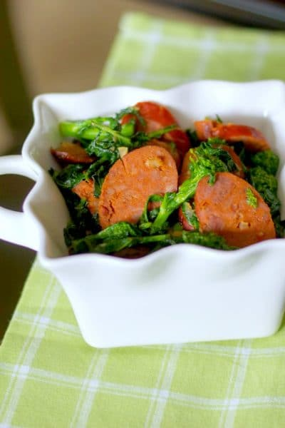 Broccoli Rabe, otherwise known as rapini, sautéed with Portuguese chorizo, garlic and Extra Virgin Olive Oil makes a tasty side dish or main meal.
