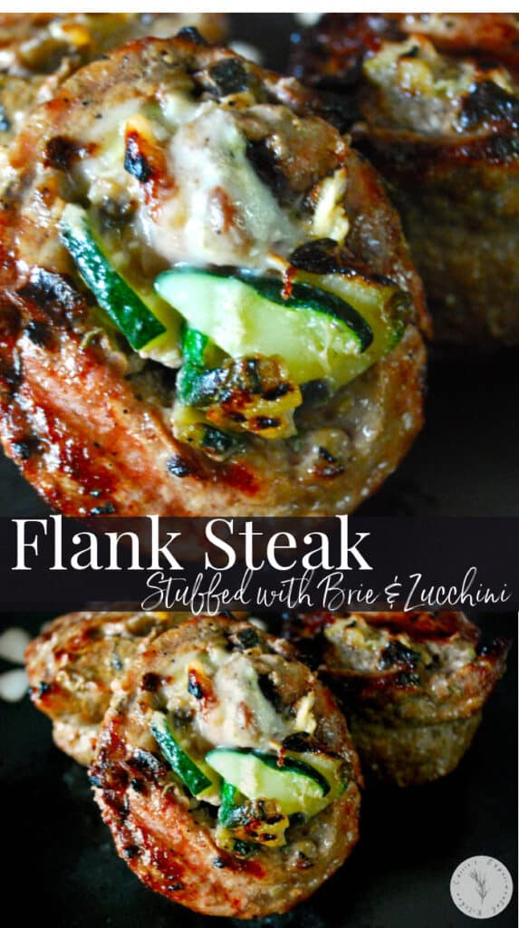Tenderized flank steak stuffed with zucchini, Brie cheese, mushrooms and rosemary, tied with twine and sliced into individual portions; then grilled.