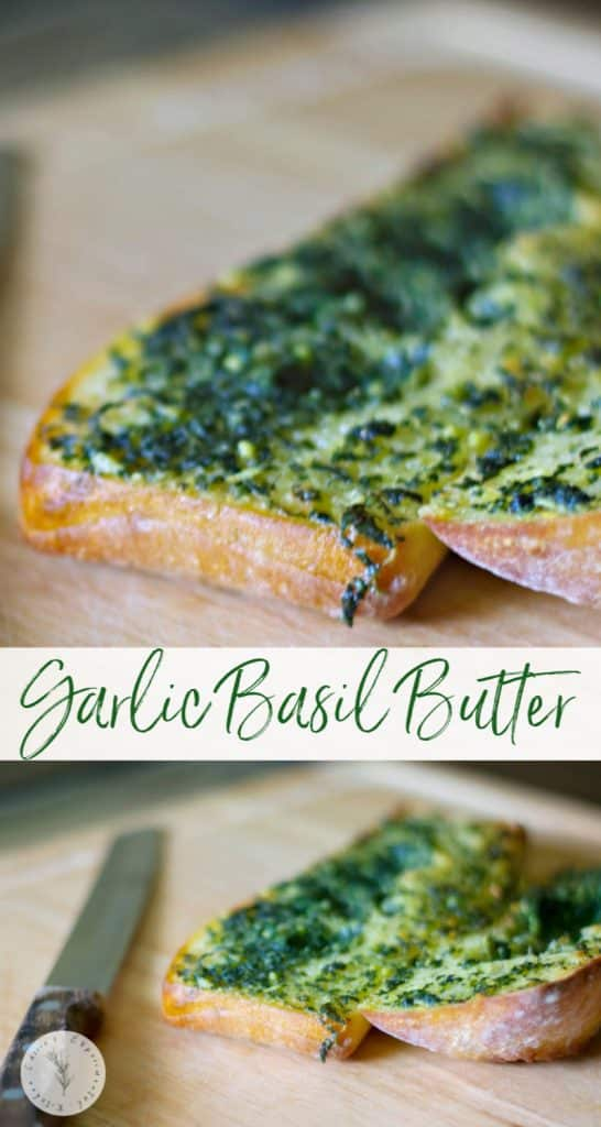 Add this Garlic Basil Butter to crusty, warm Italian bread for a delicious side that goes perfectly with your favorite pasta dish!
