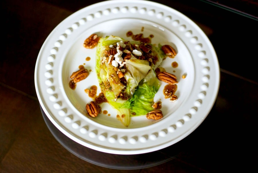 Grilled Iceberg Wedge with Pecans in a Balsamic Goat Cheese Vinaigrette