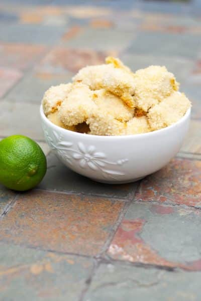 Boneless chicken breasts dipped in a mixture of honey and lime juice; then coated with breadcrumbs and baked until golden brown. Totally kid friendly and even makes a great game day appetizer!