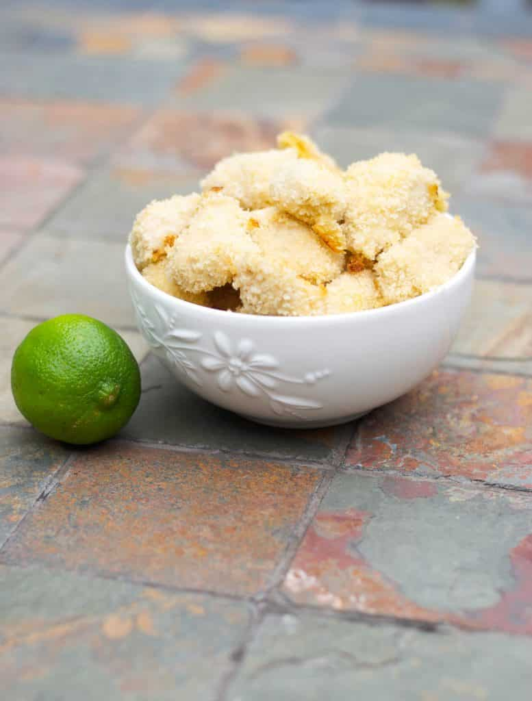 Boneless chicken breasts dipped in a mixture of honey and lime juice; then coated with breadcrumbs and baked until golden brown.Totally kid friendly and even makes a great game day appetizer!