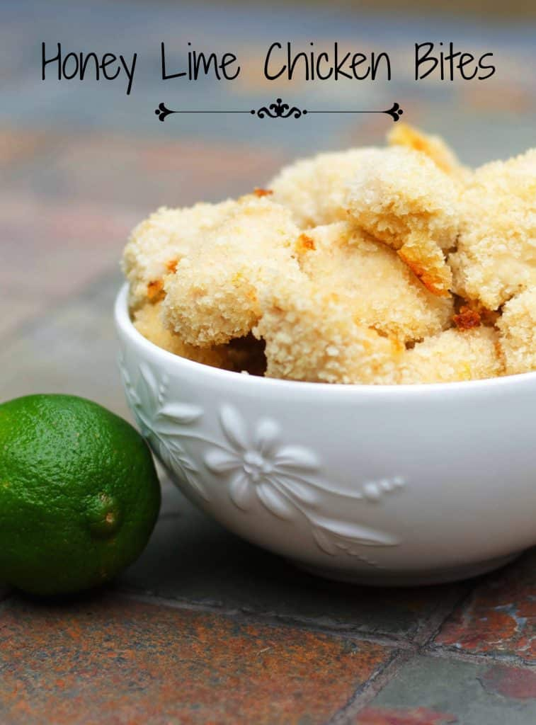Boneless chicken breasts dipped in a mixture of honey and lime juice; then coated with breadcrumbs and baked until golden brown.