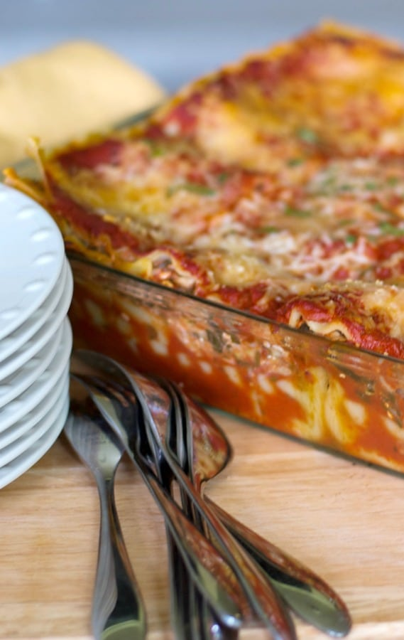Low Fat Vegetable Lasagna made with reduced fat cottage and mozzarella cheeses, zucchini, spinach, carrots and crushed tomatoes.