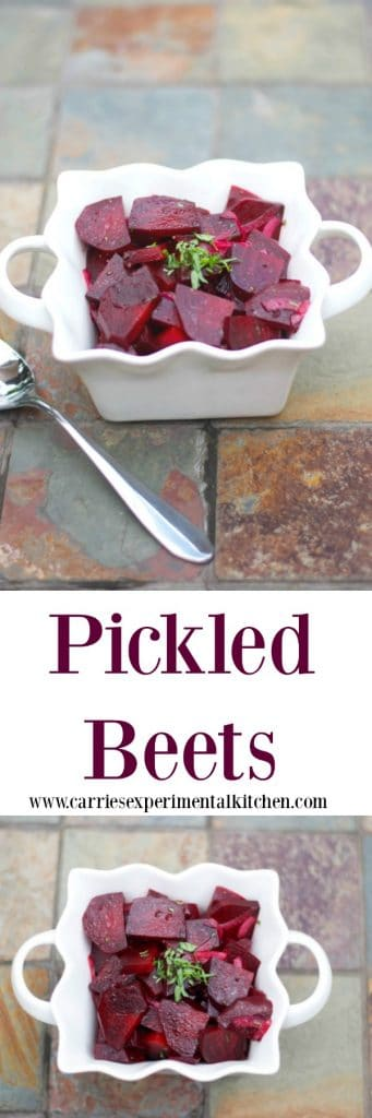 Make your own Pickled Beets at home with fresh beets and red onions marinated in white balsamic vinegar, extra virgin olive oil, sugar and fresh tarragon.