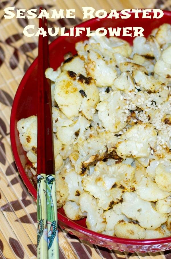 Cauliflower tossed with sesame oil, garlic, Kosher salt and fresh ground pepper; then roasted until golden brown.