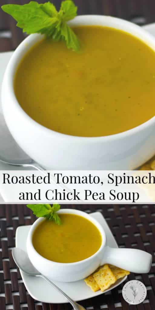 Vegetarian Roasted Tomato, Spinach and Chick Pea Soup made with roasted tomatoes, fresh spinach and chick peas is so creamy and delicious.