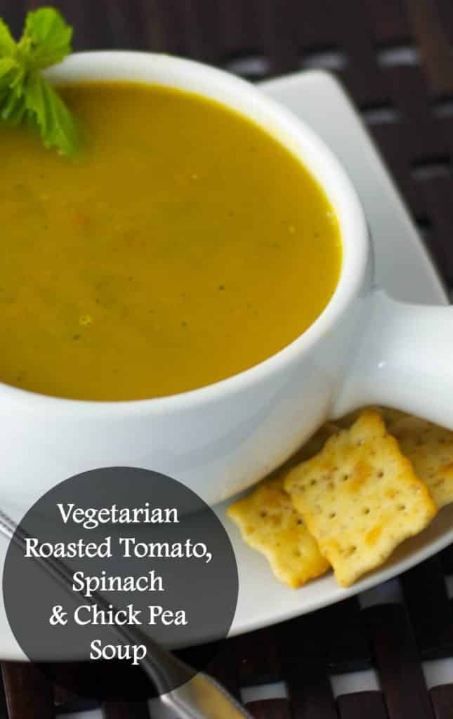Vegetarian Roasted Tomato, Spinach and Chick Pea Soup | CarriesExperimentalKitchen.com