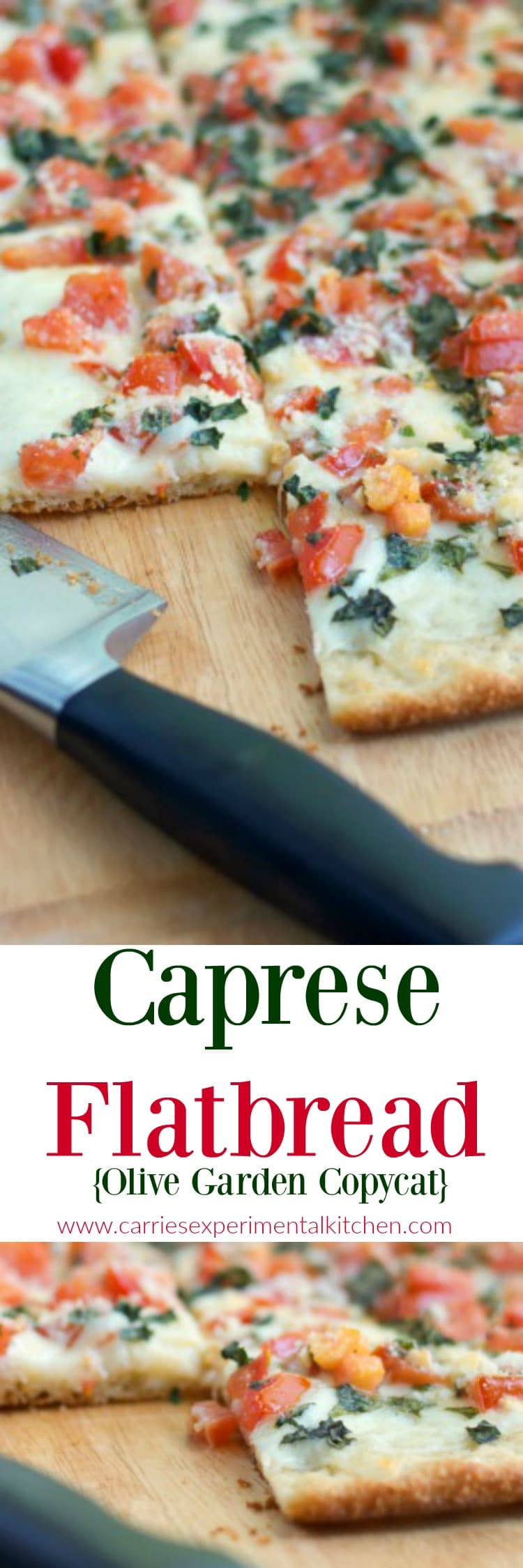 Make this Olive Garden favorite appetizer, Caprese Flatbread made with fresh tomatoes, basil and mozzarella cheese at home. Perfect for pizza night or game day snacking too!#flatbread #pizza #gameday #appetizer #meatless