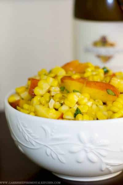 This Corn & Peach Salad is refreshingly light with a hint of sweetness. Perfect use for leftover summer corn on the cob.