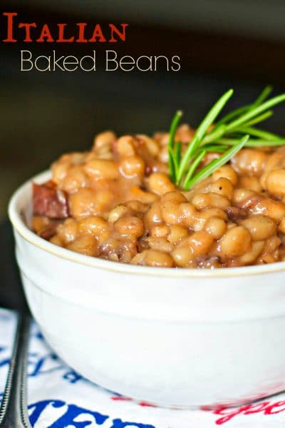 Italian Baked Beans made with white beans, turkey bacon, rosemary, crushed tomatoes, Italian dry red wine and Asiago and Pecorino Romano cheeses.
