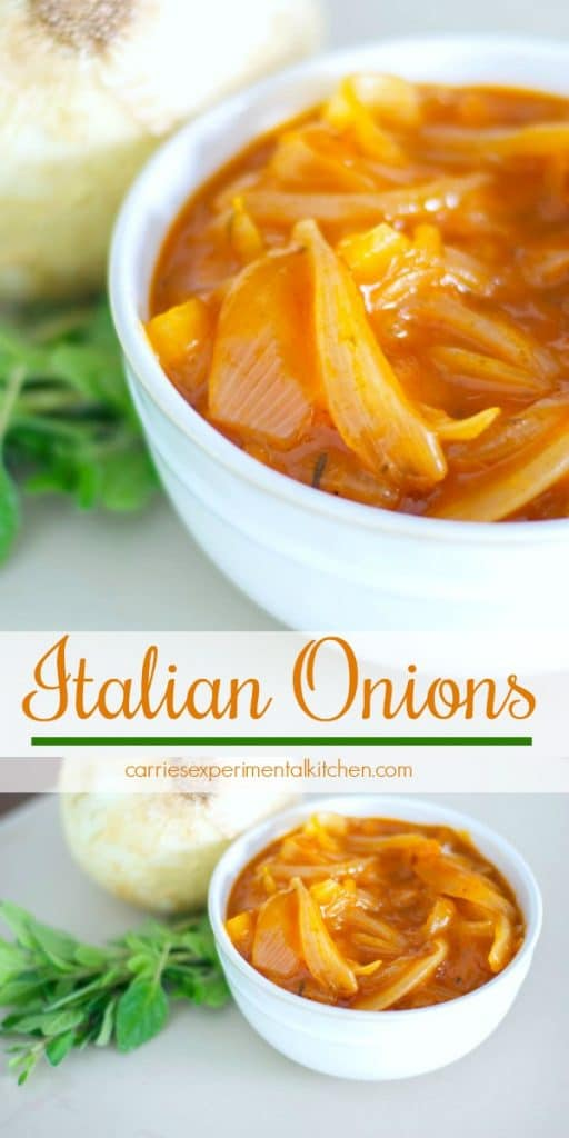 These Italian Onions simmered in a tomato based sauce with oregano make the perfect topping for grilled hamburgers and hot dogs.