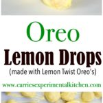 Oreo Lemon Drops are a delicious lemony dessert using Lemon Twist Oreo's, fat free cream cheese and lemon extract; then dipped in white chocolate.