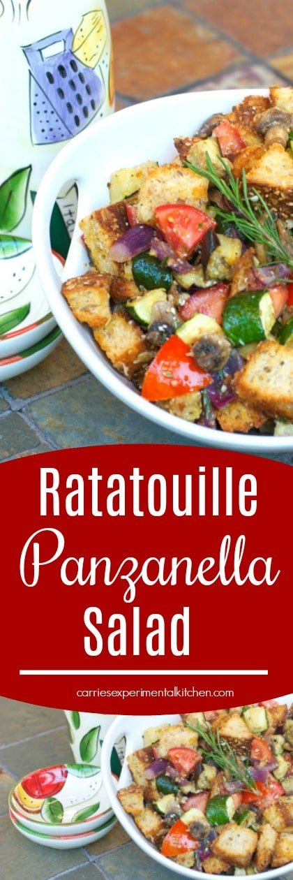 Ratatouille Panzanella Salad made with fresh eggplant, zucchini, mushrooms, garlic & tomatoes tossed with multigrain bread and a light Lemon Chardonnay Vinaigrette. #salads #italianfood #bread #tomatoes #dairyfree