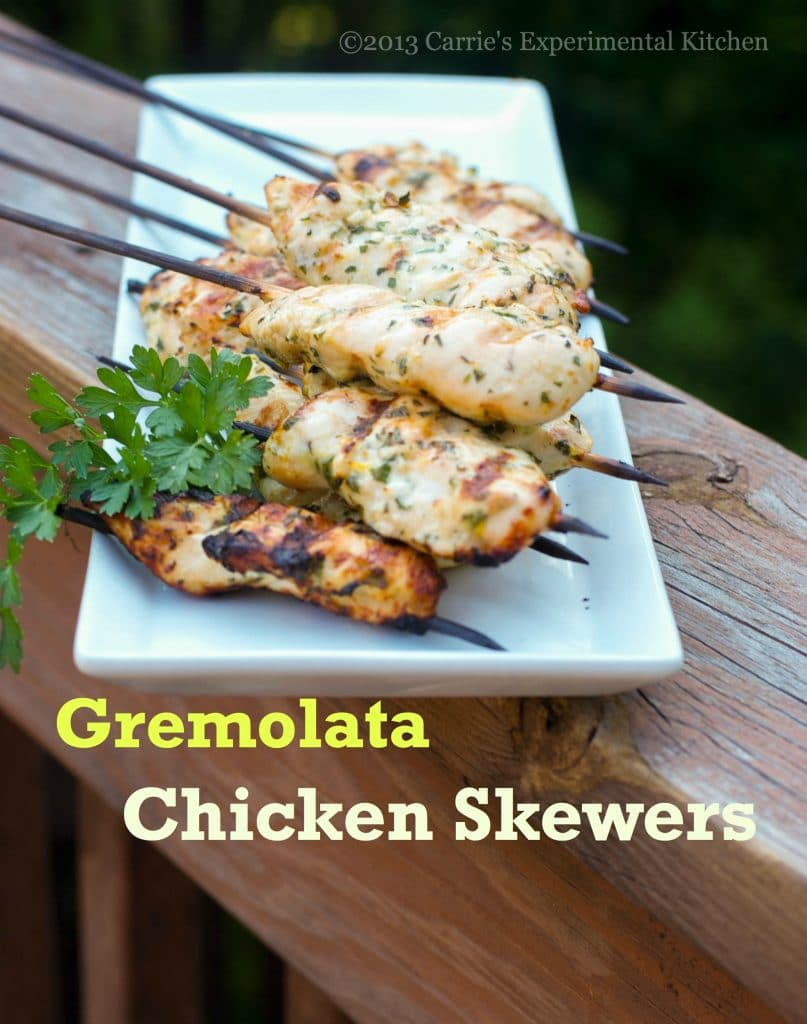 Marinate chicken in lemon juice, garlic, fresh parsley and extra virgin olive oil; then place them on skewers for these deliciously light and moist Gremolata Chicken Skewers.