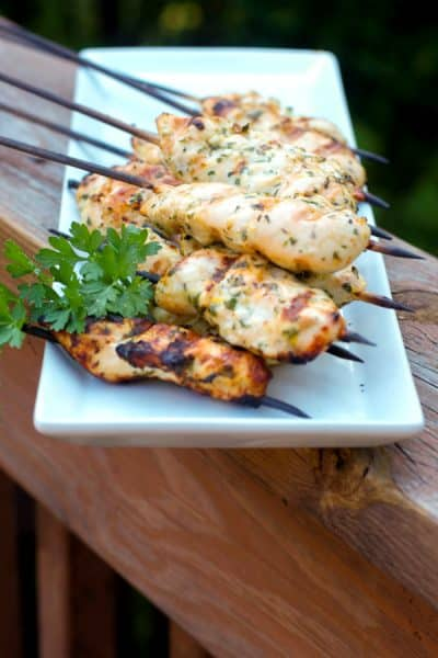 Gremolata Chicken Skewers marinated in lemon juice, garlic, fresh parsley and olive oil; then grilled make a tasty, light weeknight meal.