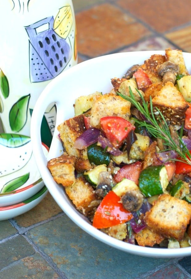 Ratatouille Panzanella Salad made with fresh eggplant, zucchini, mushrooms, garlic & tomatoes tossed with multigrain bread and a light Lemon Chardonnay Vinaigrette.