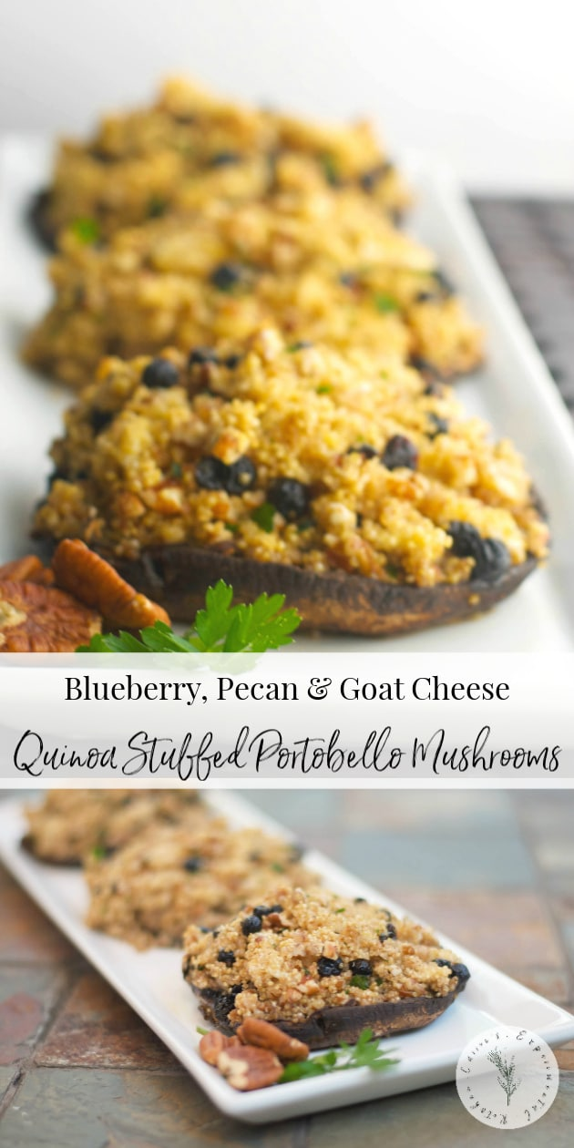 Portobello mushrooms stuffed with blueberries, pecans, crumbled goat cheese and quinoa is a healthy weeknight meal idea that's loaded with flavor.