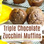 Triple Chocolate Zucchini Muffins made with cocoa powder, semi sweet and dark chocolate are so chocolatey, you won't be able to eat just one.