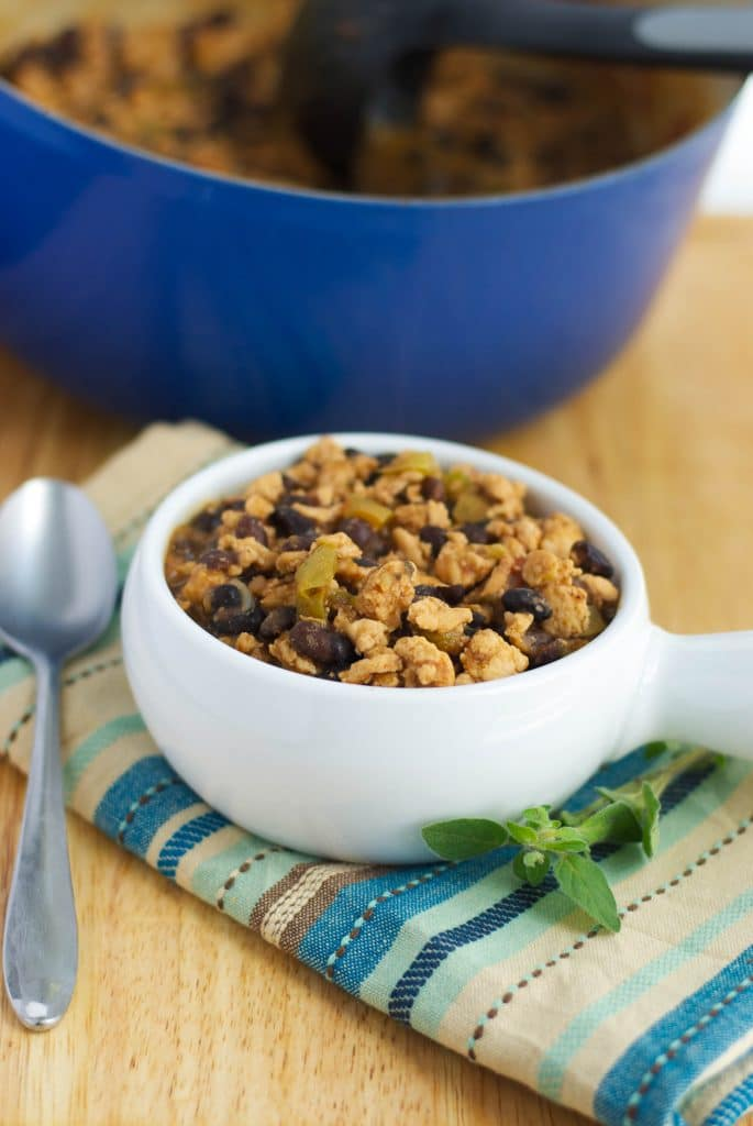 Black Bean & Turkey Chili made with lean ground turkey; then slowly simmered with spices and black beans.
