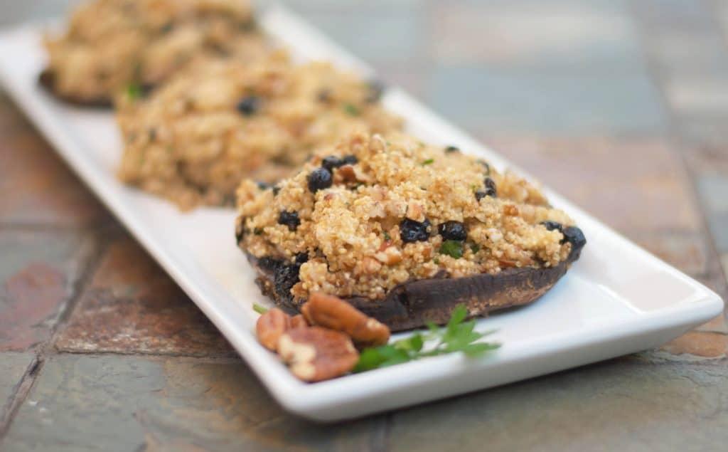 Blueberry, Pecan & Goat Cheese Quinoa Stuffed Portobello Mushrooms