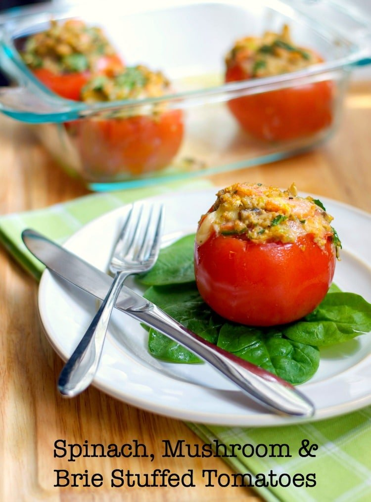 Vine ripened tomatoes stuffed with fresh spinach, mushrooms and Brie cheese.