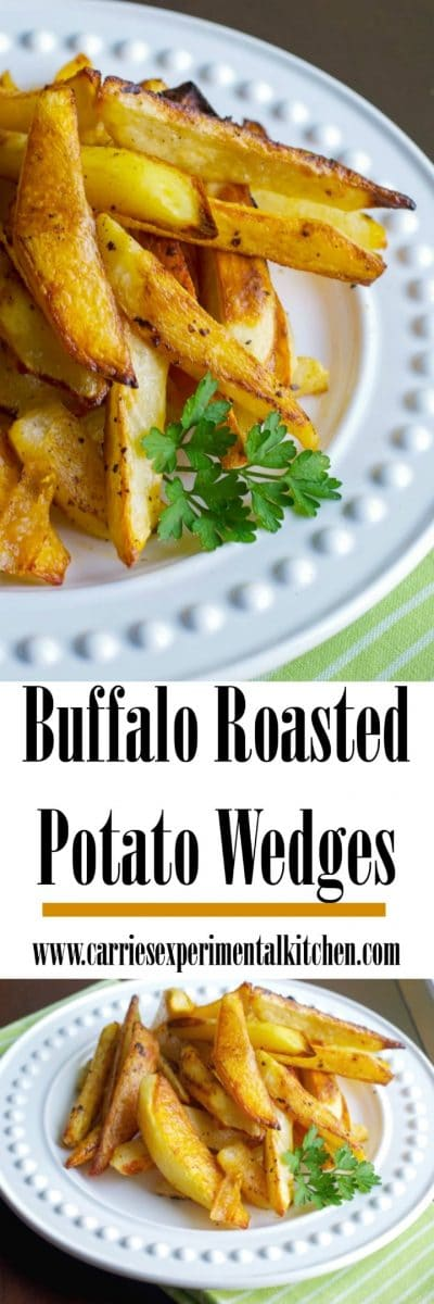 Buffalo Roasted Potato Wedges made with russet potatoes and tossed with melted butter and hot sauce; then roasted until golden brown.#potatoes #potato #frenchfries #buffalo #sidedish