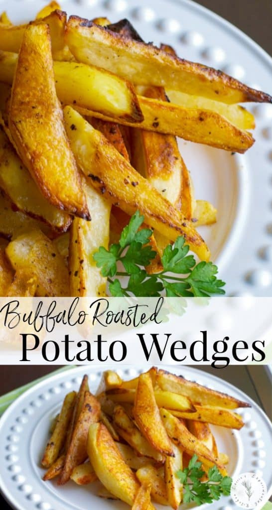 Buffalo Roasted Potato Wedges made with russet potatoes and tossed with melted butter and hot sauce; then roasted until golden brown.