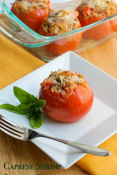 Fresh garden tomatoes stuffed with shrimp, garlic, basil, mozzarella cheese and Italian breadcrumbs; then baked until golden brown.