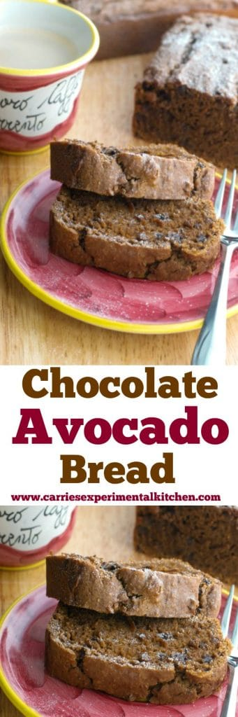 Chocolate Avocado Bread made with ripe avocados, egg whites, flour, chocolate chips and vanilla pudding is super moist and decadent. Try some for breakfast or an afternoon snack!