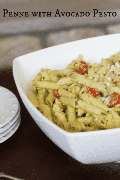 Penne with Avocado Pesto made with creamy, ripe avocado, fresh basil, garlic, Parmesan cheese and extra virgin olive oil makes a deliciously quick weeknight meal.